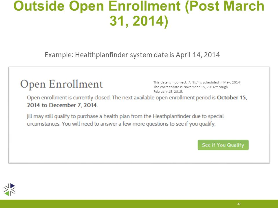 "Outside Open Enrollment (Post March 31, 2014) 33 Example: Healthplanfinder system date is April 14, 2014 This date is incorrect. A ""fix"" is scheduled"