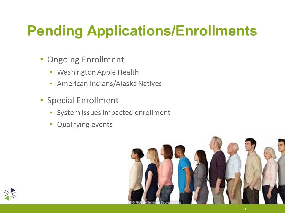 Pending Applications/Enrollments ▪ Ongoing Enrollment ▪ Washington Apple Health ▪ American Indians/Alaska Natives ▪ Special Enrollment ▪ System issues
