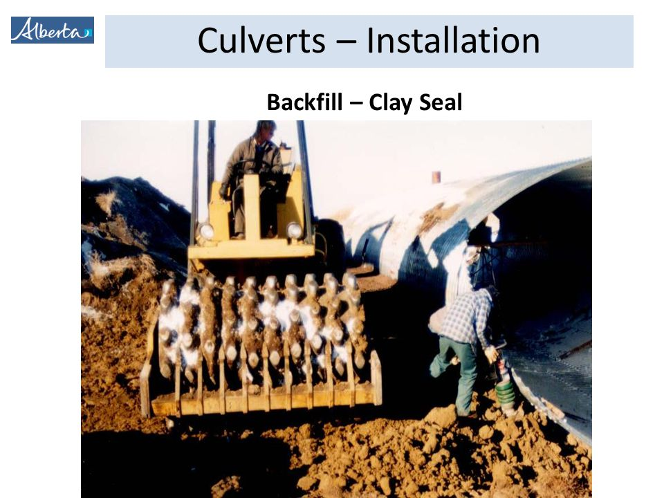 Culverts – Installation Backfill – Clay Seal
