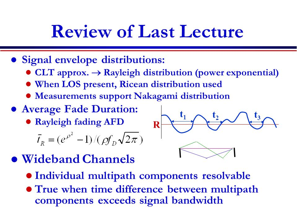 Review of Last Lecture Signal envelope distributions: CLT approx.