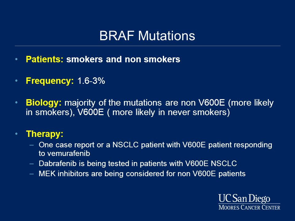 BRAF Mutations Patients: smokers and non smokers Frequency: 1.6-3% Biology: majority of the mutations are non V600E (more likely in smokers), V600E ( more likely in never smokers) Therapy: –One case report or a NSCLC patient with V600E patient responding to vemurafenib –Dabrafenib is being tested in patients with V600E NSCLC –MEK inhibitors are being considered for non V600E patients