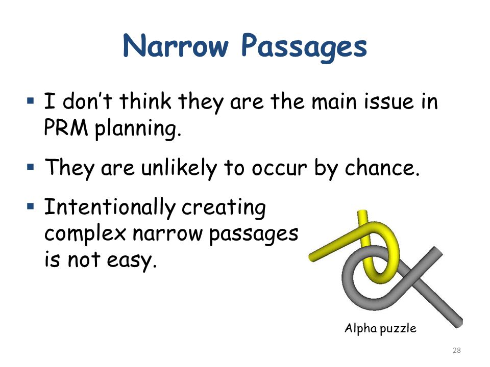 Narrow Passages  I don't think they are the main issue in PRM planning.  They are unlikely to occur by chance.  Intentionally creating complex narr