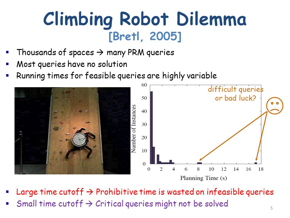 5 Climbing Robot Dilemma [Bretl, 2005]  Thousands of spaces  many PRM queries  Most queries have no solution  Running times for feasible queries are highly variable  Large time cutoff  Prohibitive time is wasted on infeasible queries  Small time cutoff  Critical queries might not be solved difficult queries or bad luck