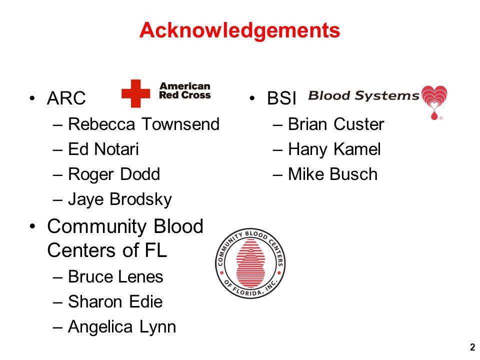 Acknowledgements ARC –Rebecca Townsend –Ed Notari –Roger Dodd –Jaye Brodsky Community Blood Centers of FL –Bruce Lenes –Sharon Edie –Angelica Lynn BSI –Brian Custer –Hany Kamel –Mike Busch 2