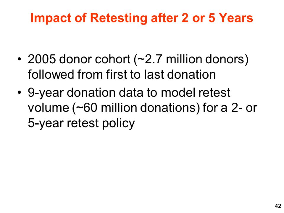 Impact of Retesting after 2 or 5 Years 2005 donor cohort (~2.7 million donors) followed from first to last donation 9-year donation data to model retest volume (~60 million donations) for a 2- or 5-year retest policy 42