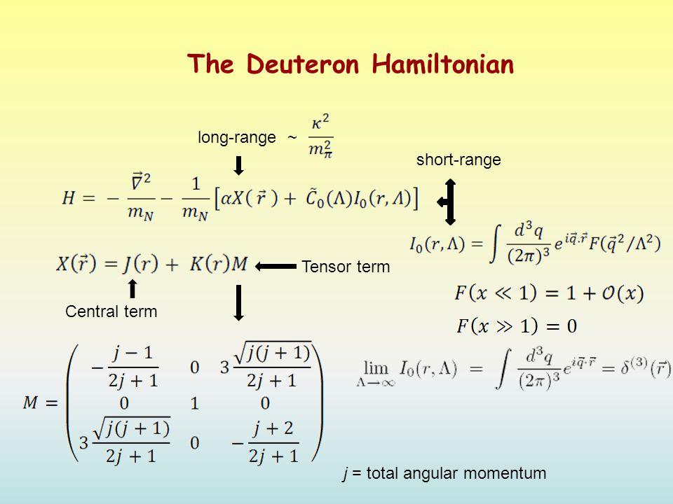 The Deuteron Hamiltonian long-range ~ short-range Central term Tensor term j = total angular momentum