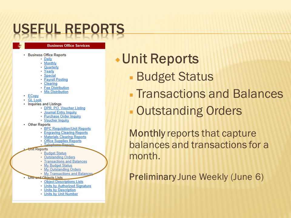  Unit Reports  Budget Status  Transactions and Balances  Outstanding Orders Monthly reports that capture balances and transactions for a month.