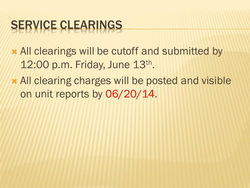  All clearings will be cutoff and submitted by 12:00 p.m.