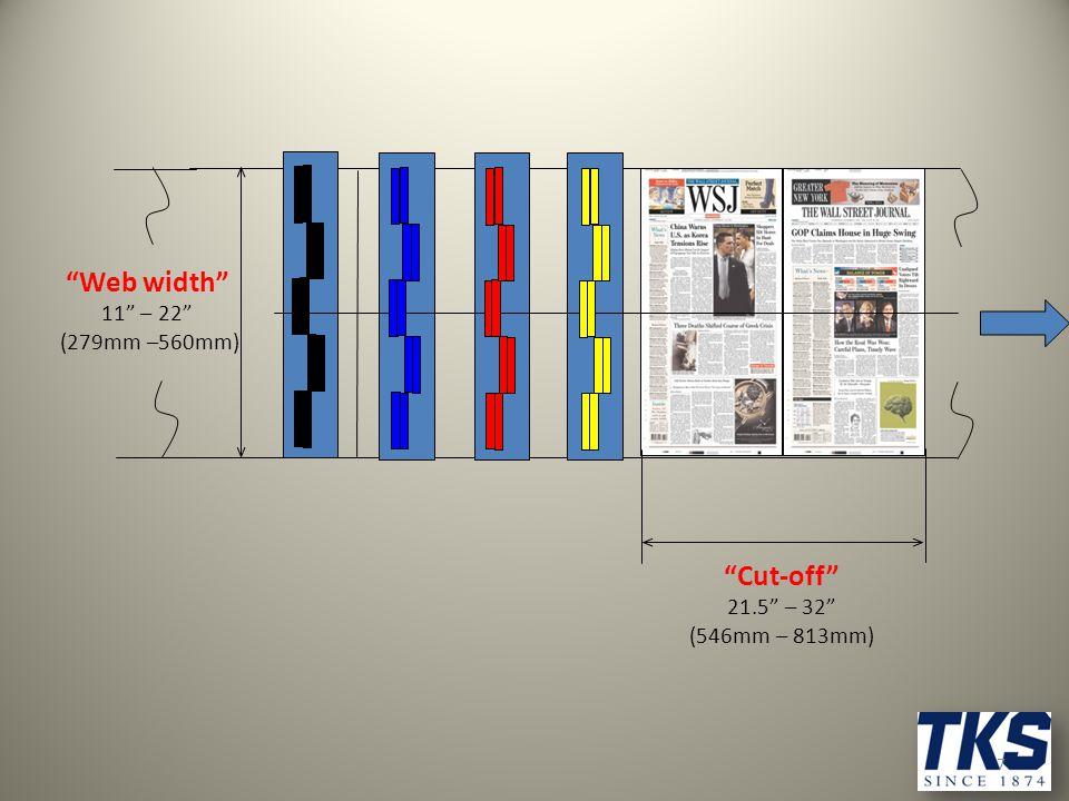"7 ""Cut-off"" 21.5"" – 32"" (546mm – 813mm) ""Web width"" 11"" – 22"" (279mm –560mm)"