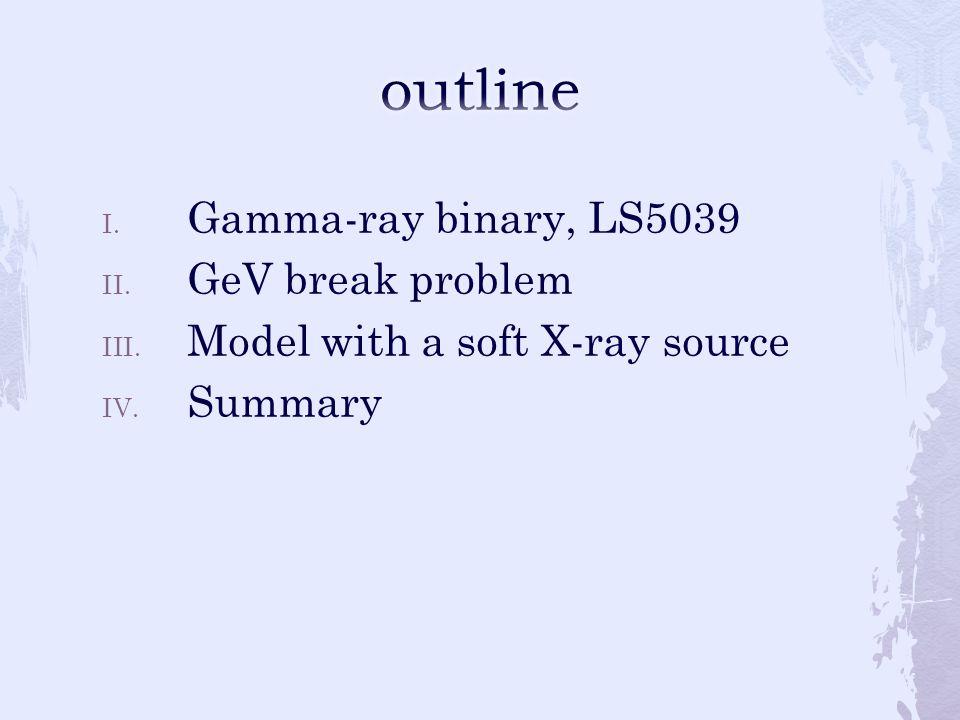 I. Gamma-ray binary, LS5039 II. GeV break problem III. Model with a soft X-ray source IV. Summary