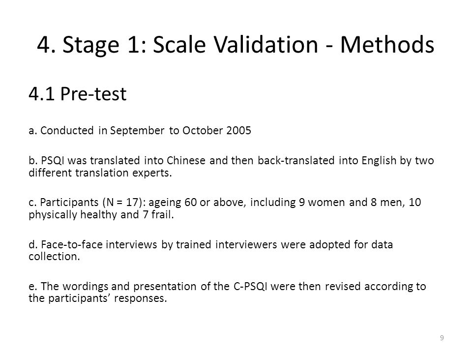 4. Stage 1: Scale Validation - Methods 4.1 Pre-test a.