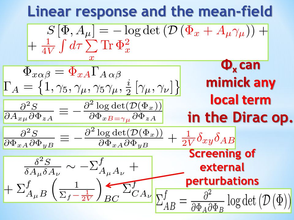 Φ x can mimick any local term in the Dirac op. Screening of externalperturbations
