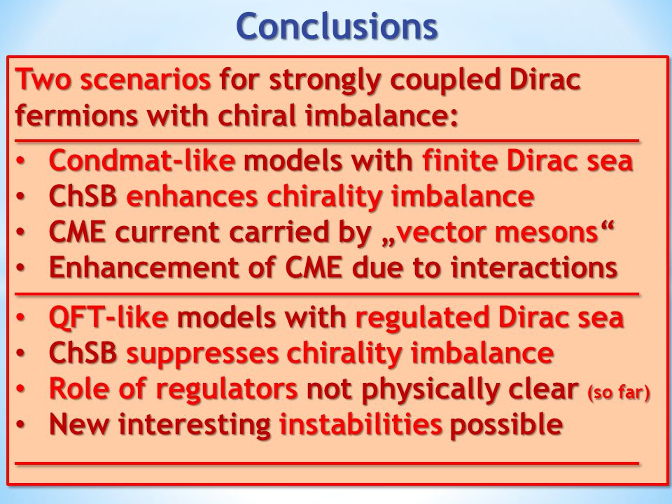 Two scenarios for strongly coupled Dirac fermions with chiral imbalance: Condmat-like models with finite Dirac sea Condmat-like models with finite Dir
