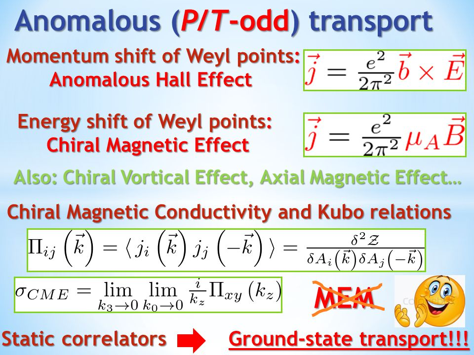 Anomalous transport coefficients: Related to axial anomaly Related to axial anomaly Do not receive corrections IF Do not receive corrections IF Screening length finite [Jensen,Banerjee,…] Screening length finite [Jensen,Banerjee,…] Well-defined Fermi-surface [Son, Stephanov…] Well-defined Fermi-surface [Son, Stephanov…] No Abelian gauge fields [Jensen,Kovtun…] No Abelian gauge fields [Jensen,Kovtun…] In Weyl semimetals with μ A / induced mass: No screening ( massless Weyl fermions/Goldstones) No screening ( massless Weyl fermions/Goldstones) Electric charges interact Electric charges interact Non-Fermi-liquid [Buividovich'13] Non-Fermi-liquid [Buividovich'13]