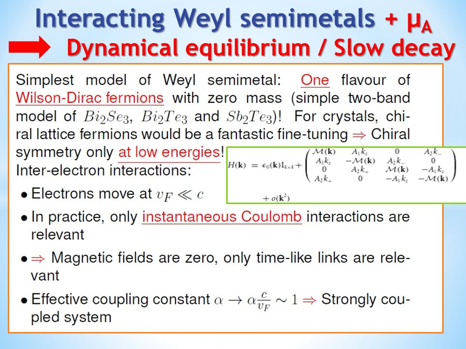 Lattice Dirac fermions with contact interactions Lattice Dirac Hamiltonian V>0, like charges repel Suzuki-Trotter decomposition Hubbard-Stratonovich transformation