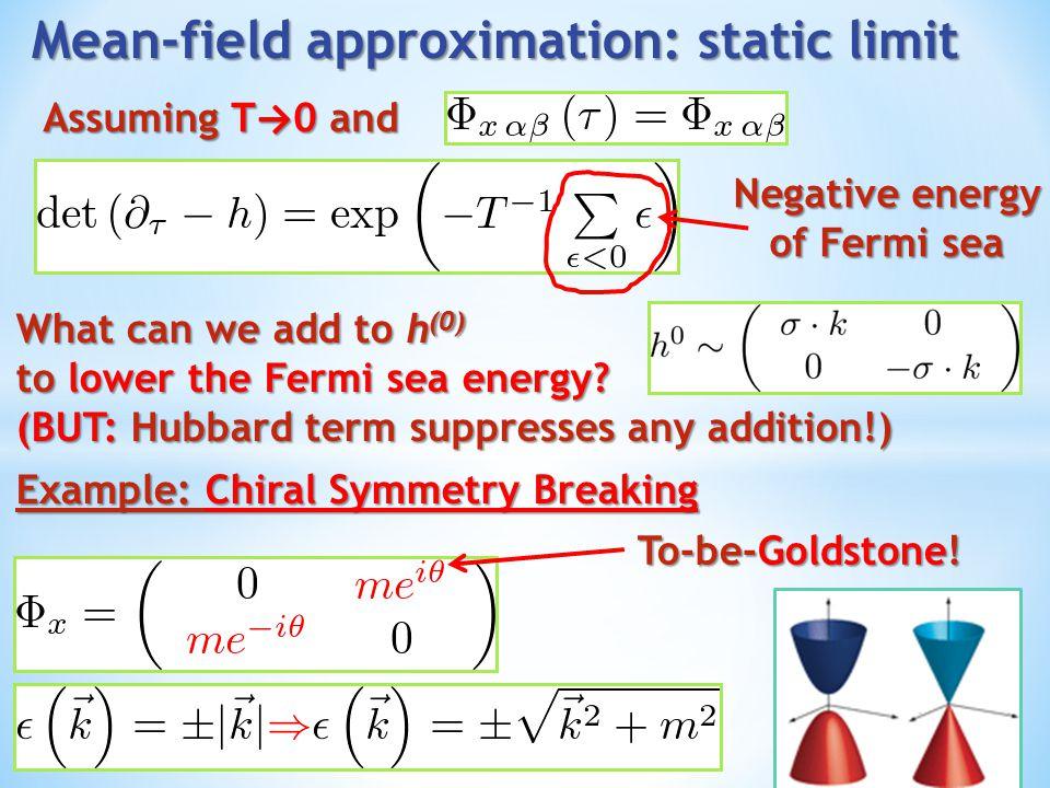 Possible homogeneous condensates (assume unbroken Lorentz symmetry) … but mass lowers the Fermi sea more efficiently