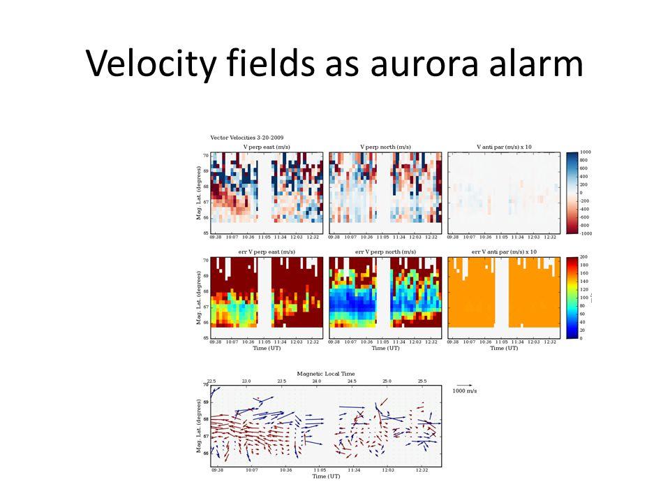 Velocity fields as aurora alarm