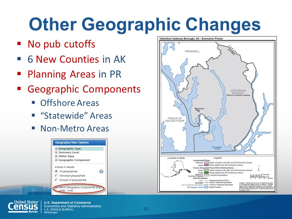 Other Geographic Changes  No pub cutoffs  6 New Counties in AK  Planning Areas in PR  Geographic Components  Offshore Areas  Statewide Areas  Non-Metro Areas 23
