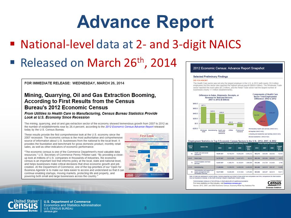 Advance Report  National-level data at 2- and 3-digit NAICS  Released on March 26 th, 2014 8