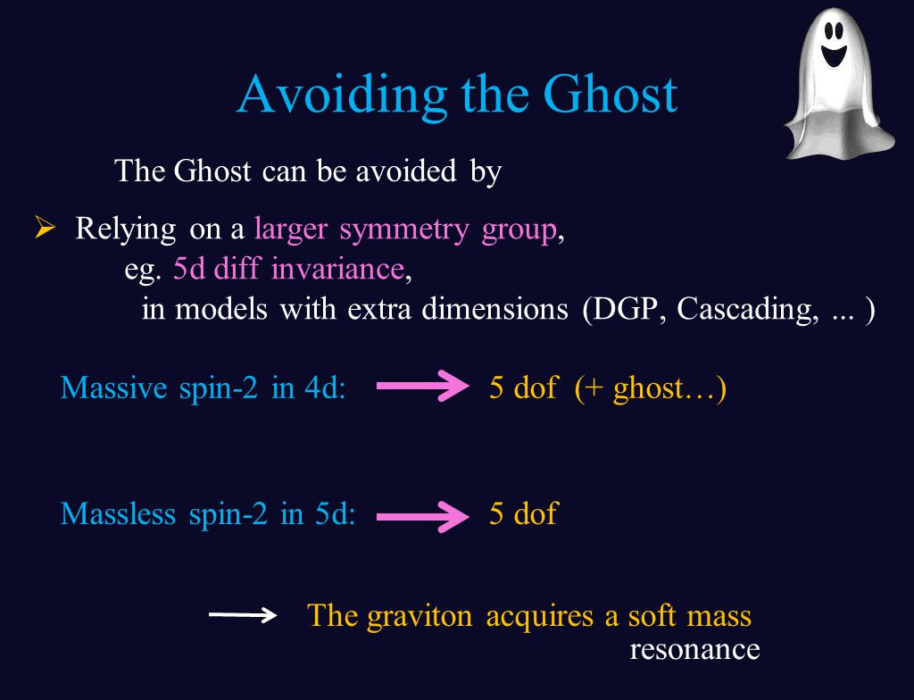 Avoiding the Ghost  Relying on a larger symmetry group, eg.
