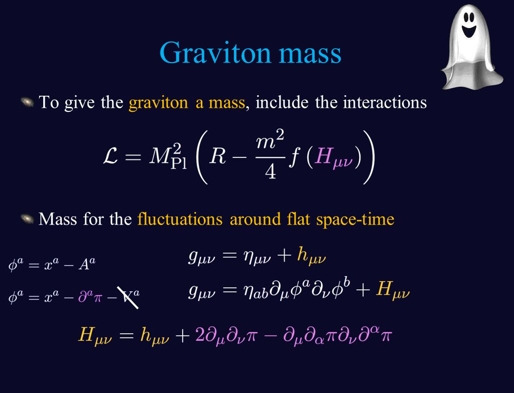 To give the graviton a mass, include the interactions Mass for the fluctuations around flat space-time Graviton mass