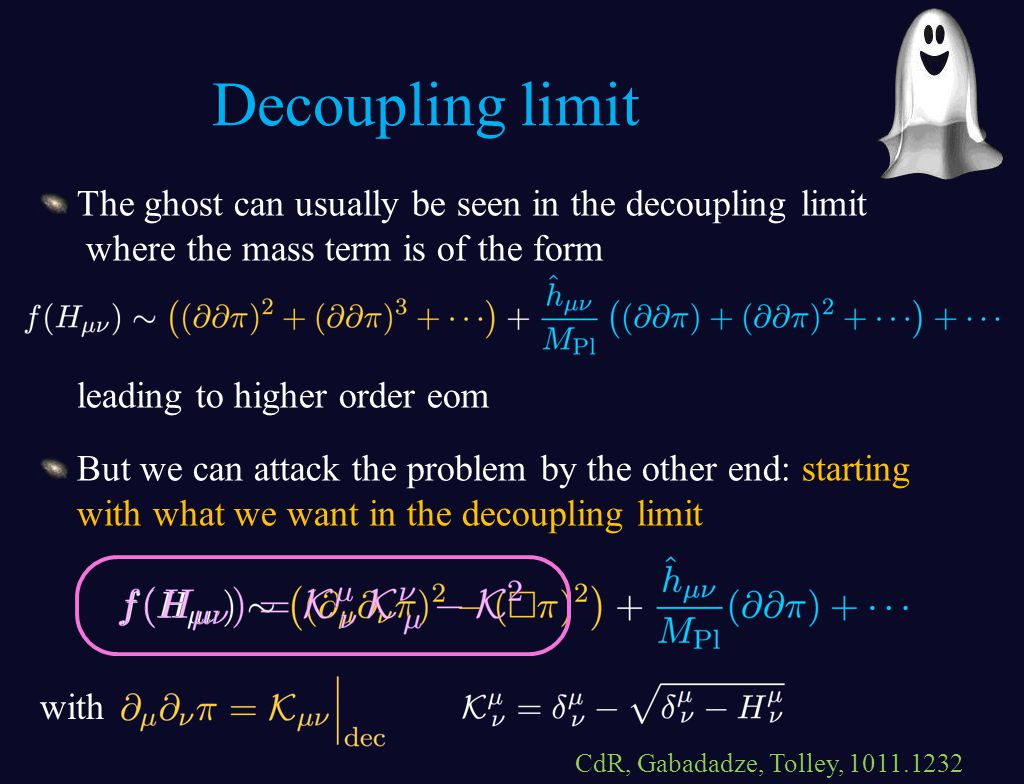 The ghost can usually be seen in the decoupling limit where the mass term is of the form leading to higher order eom But we can attack the problem by