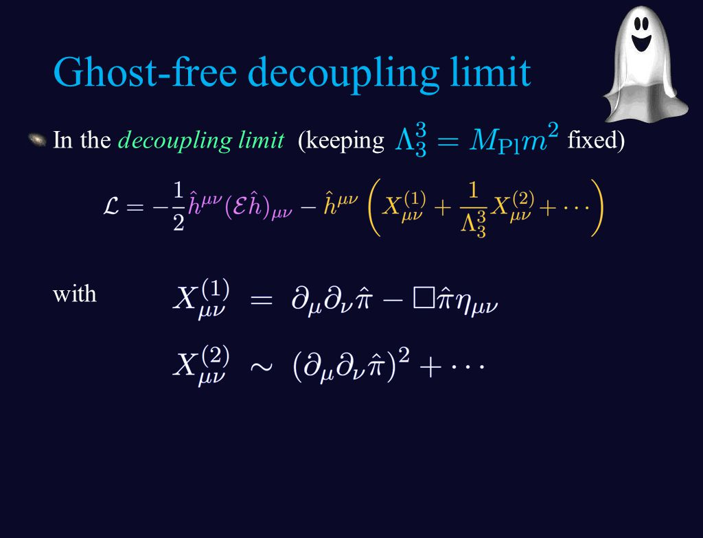 In the decoupling limit (keeping fixed) with Ghost-free decoupling limit
