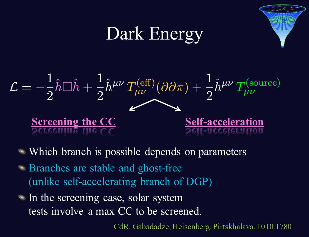 Dark Energy Which branch is possible depends on parameters Branches are stable and ghost-free (unlike self-accelerating branch of DGP) In the screening case, solar system tests involve a max CC to be screened.