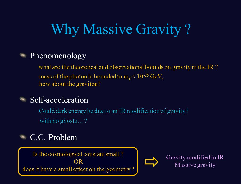 Why Massive Gravity . Phenomenology Self-acceleration C.C.