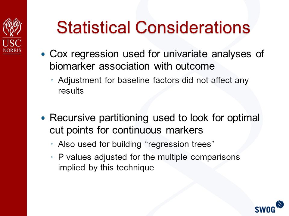 Statistical Considerations Cox regression used for univariate analyses of biomarker association with outcome ◦ Adjustment for baseline factors did not affect any results Recursive partitioning used to look for optimal cut points for continuous markers ◦ Also used for building regression trees ◦ P values adjusted for the multiple comparisons implied by this technique