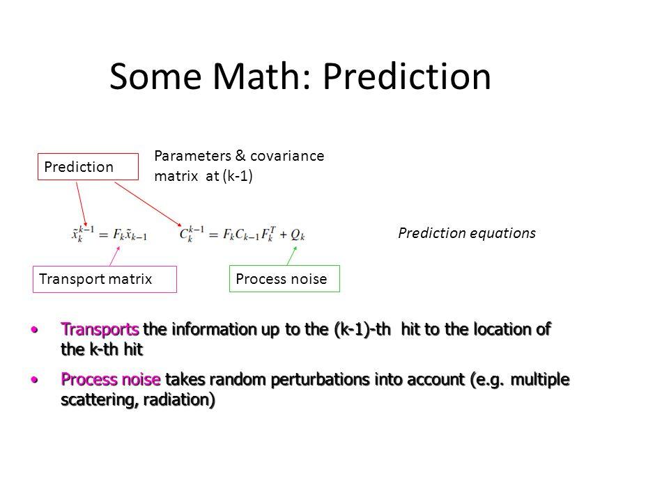 Some Math: Prediction Parameters & covariance matrix at (k-1) Prediction Transport matrix Process noise Prediction equations Transports the informatio