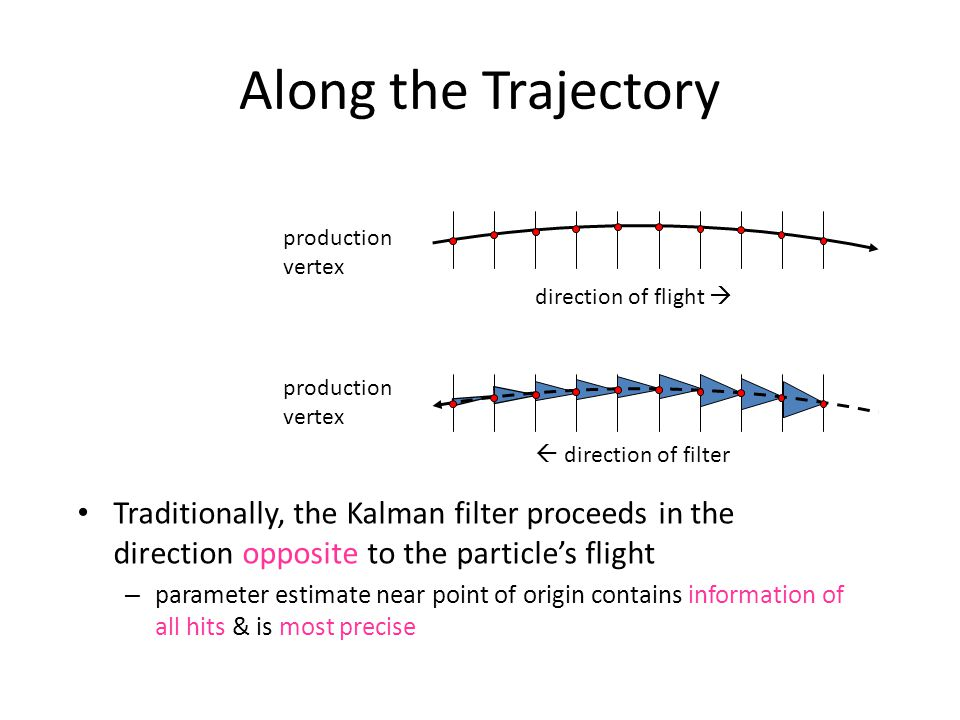 Along the Trajectory Traditionally, the Kalman filter proceeds in the direction opposite to the particle's flight – parameter estimate near point of o