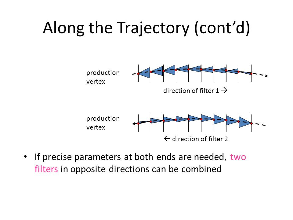 Along the Trajectory (cont'd) If precise parameters at both ends are needed, two filters in opposite directions can be combined production vertex dire