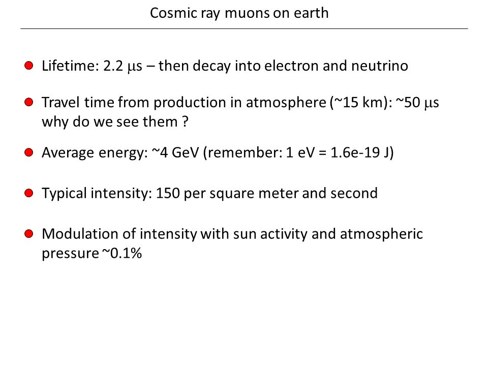 Cosmic ray muons on earth Lifetime: 2.2  s – then decay into electron and neutrino Travel time from production in atmosphere (~15 km): ~50  s why do