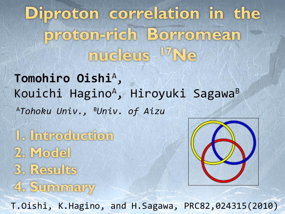 Tomohiro Oishi A, Kouichi Hagino A, Hiroyuki Sagawa B A Tohoku Univ., B Univ.