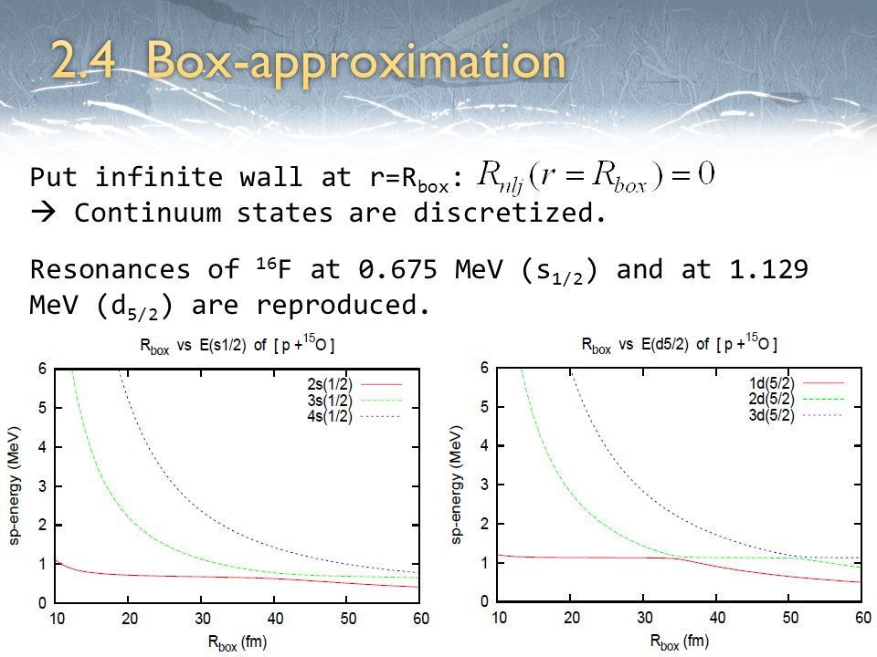 Put infinite wall at r=R box :  Continuum states are discretized.