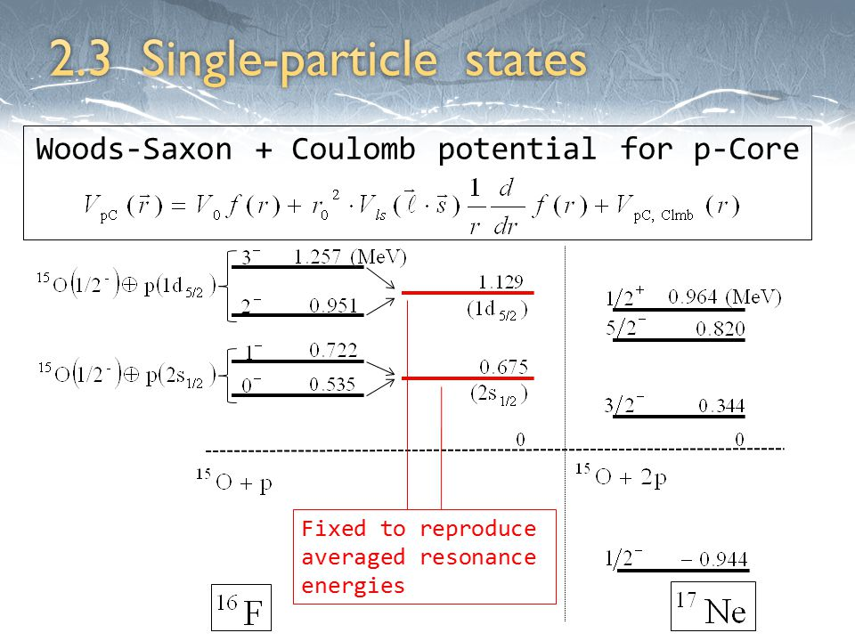 Fixed to reproduce averaged resonance energies Woods-Saxon + Coulomb potential for p-Core