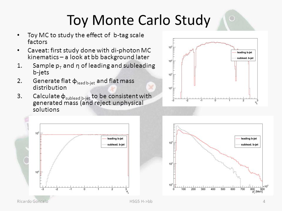 Toy Monte Carlo Study Toy MC to study the effect of b-tag scale factors Caveat: first study done with di-photon MC kinematics – a look at bb background later 1.Sample p T and η of leading and subleading b-jets 2.Generate flat φ lead b-jet and flat mass distribution 3.Calculate φ sublead b-jet to be consistent with generated mass (and reject unphysical solutions Ricardo GoncaloHSG5 H->bb4