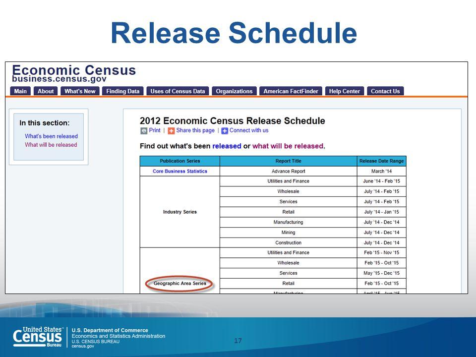 17 Release Schedule