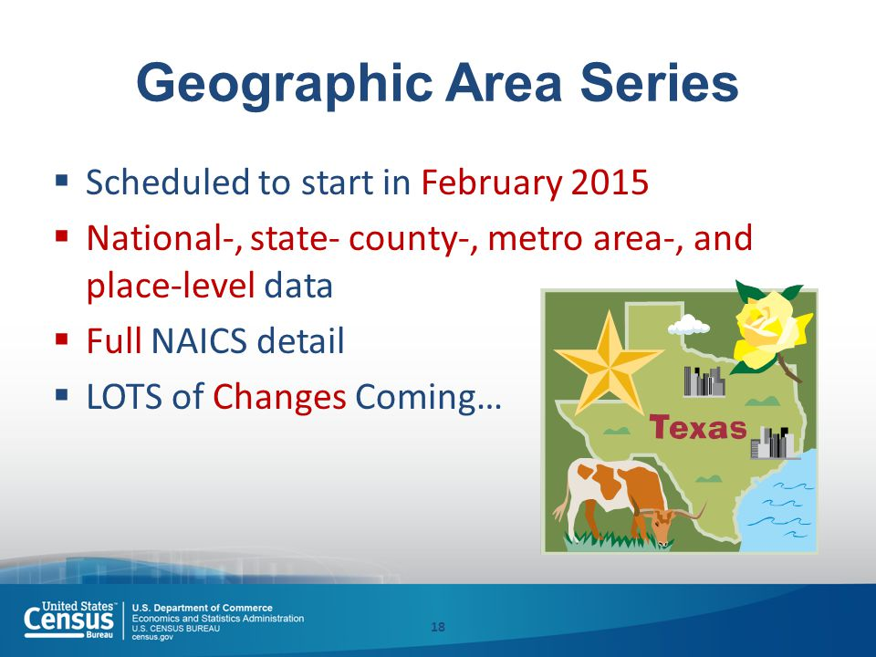 Geographic Area Series  Scheduled to start in February 2015  National-, state- county-, metro area-, and place-level data  Full NAICS detail  LOTS of Changes Coming… 18