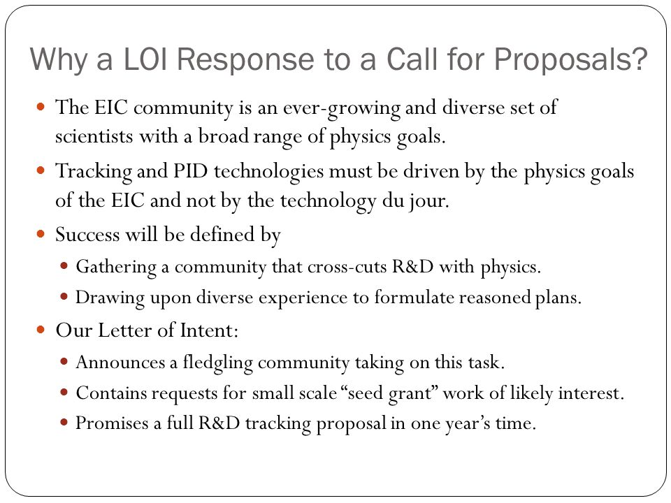 Why a LOI Response to a Call for Proposals.
