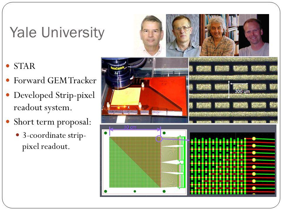 Yale University STAR Forward GEM Tracker Developed Strip-pixel readout system.