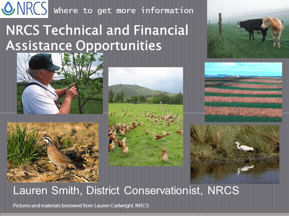 Where to get more information Lauren Smith, District Conservationist, NRCS Pictures and materials borrowed from Lauren Cartwright, NRCS