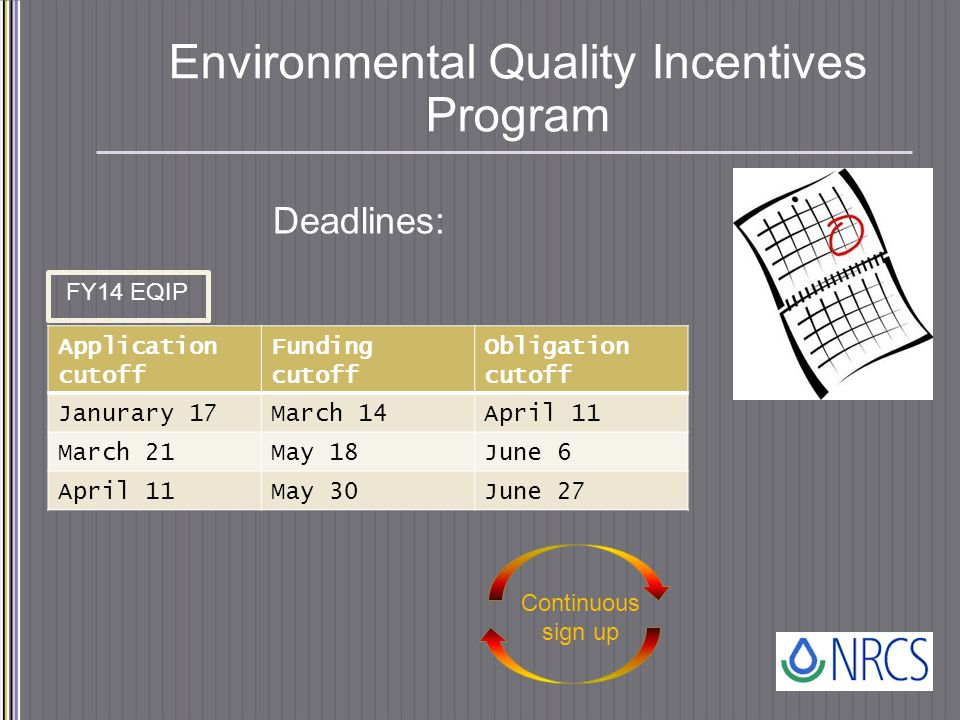 Environmental Quality Incentives Program Deadlines: FY14 EQIP Continuous sign up Application cutoff Funding cutoff Obligation cutoff Janurary 17March 14April 11 March 21May 18June 6 April 11May 30June 27