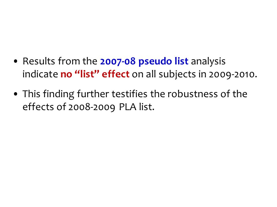 "Results from the 2007-08 pseudo list analysis indicate no ""list"" effect on all subjects in 2009-2010. This finding further testifies the robustness of"