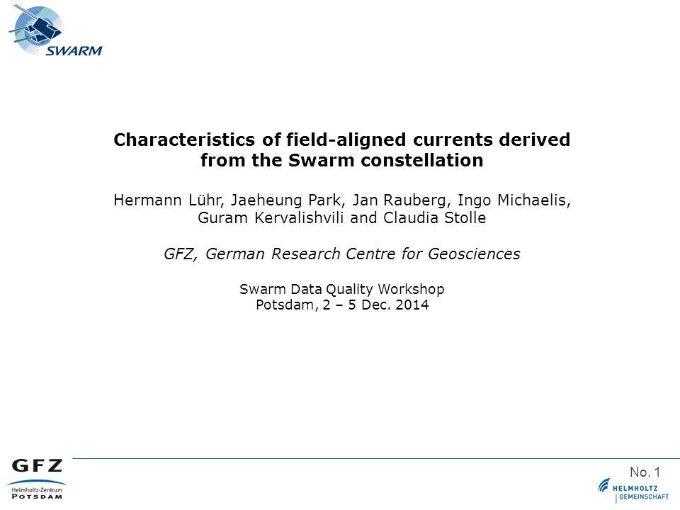 No. 1 Characteristics of field-aligned currents derived from the Swarm constellation Hermann Lühr, Jaeheung Park, Jan Rauberg, Ingo Michaelis, Guram K