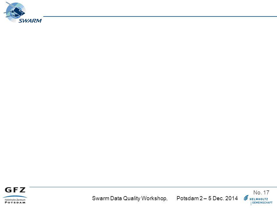 Swarm Data Quality Workshop, Potsdam 2 – 5 Dec. 2014 No. 17