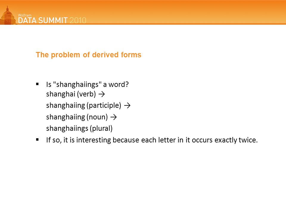 The problem of derived forms  Is shanghaiings a word.