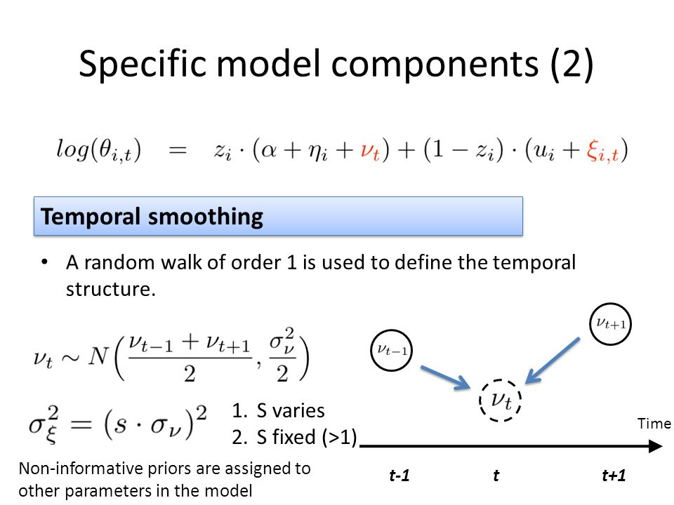Specific model components (2) A random walk of order 1 is used to define the temporal structure.