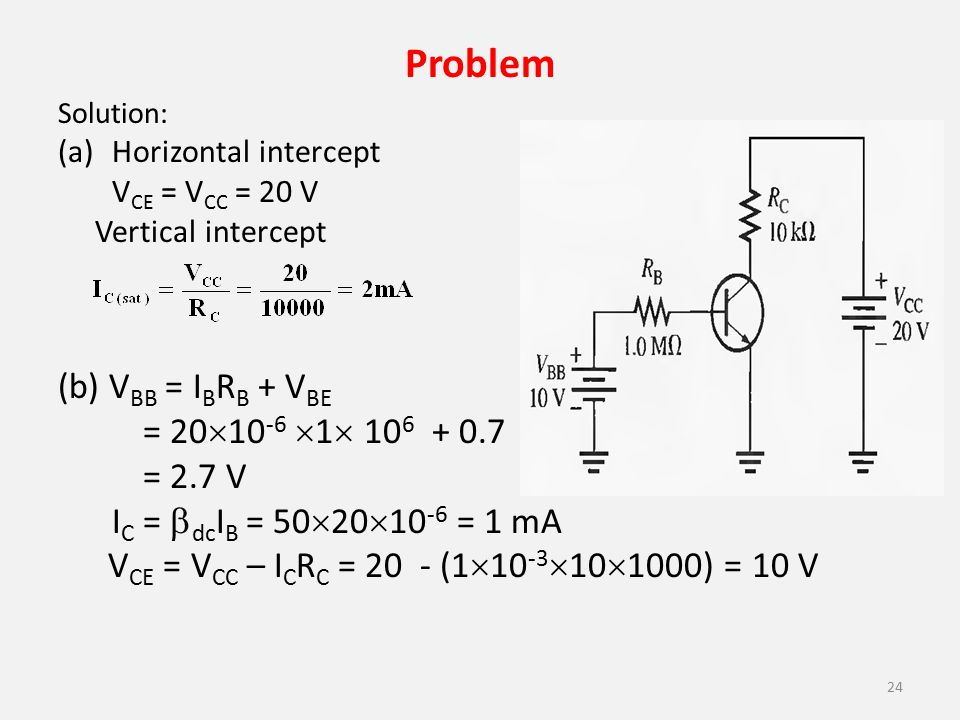 Problem Solution: (a)Horizontal intercept V CE = V CC = 20 V Vertical intercept (b) V BB = I B R B + V BE = 20  10 -6  1  10 6 + 0.7 = 2.7 V I C =